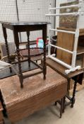 A Victorian mahogany Pembroke table together with two oak drop leaf tables,