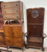 A 20th century walnut tall boy together with a chest of drawers and an oak hallstand