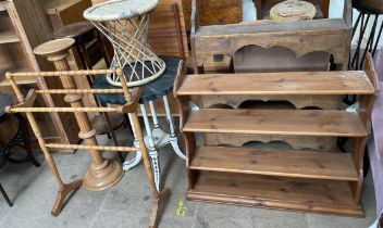 A painted occasional table together with a towel rail, torcheres,