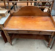 A Victorian mahogany wash stand, with a three quarter gallery,