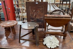 An anglo Indian carved and inlaid occasional table together with a fire screen, folding table,