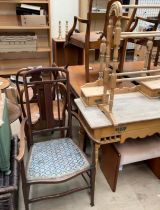 A pine dressing table together with a towel rail,