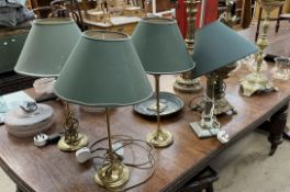 A collection of table lamps,
