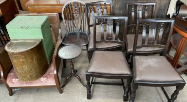 A set of four stained oak dining chairs together with a wheelback chair, wine table,