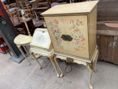 A floral decorated drinks cabinet together with a similar bureau,