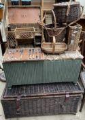 A Lloyd Loom laundry basket together with a wicker hamper, wicker bottle basket,
