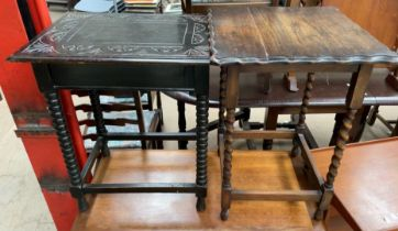 A carved oak occasional table together with a barley twist oak occasional table