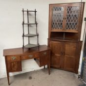 A 19th century mahogany sideboard together with an oak standing corner cupboard and a reproduction