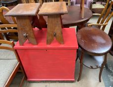 A painted pine coffer together with a mahogany occasional table and a pair of teak side tables