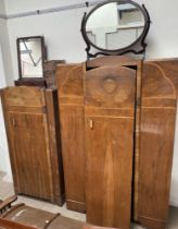 Two walnut wardrobes together with a Victorian style toilet mirror with two drawers another toilet