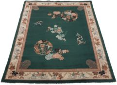 Vintage Chinese Hand Knotted Pictorial Green Rug