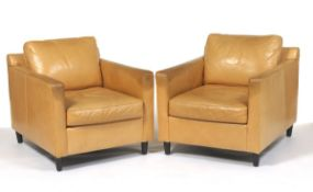 Pair of Mitchell Gold + Bob Williams Leather Club Chairs