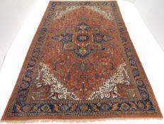 Vintage Hand-Knotted Palace Size Heriz Serapi Carpet