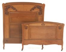 Art Nouveau Carved Headboard and Footboard, ca. 1900s