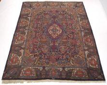 Semi-Antique Hand Knotted Signed Kashmar Vase Design Carpet