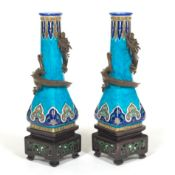 Pair of French Porcelain Dragon Vases on Stands, Attr. Joseph-Théodore Deck (French, 1823 - 1891)