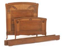 Art Nouveau Carved Wood Bed, ca.1900s