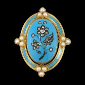 ANTIQUE ENAMEL DIAMOND AND PEARL BROOCH