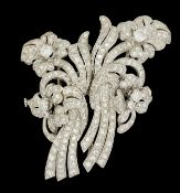 DIAMOND FLORAL DOUBLE CLIP BROOCH