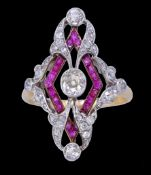 IMPORTANT BELLE EPOQUE RUBY AND DIAMOND RING
