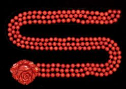 VAN CLEEF & ARPELS, IMPORTANT CARVED CORAL AND CORAL NECKLACE
