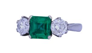 1.33 ct. COLOMBIAN EMERALD AND DIAMOND RING