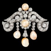 IMPORTANT ANTIQUE NATURAL SALTWATER PEARL AND DIAMOND DROP BROOCH