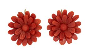 PAIR OF CORAL CARVED FLORAL EARRINGS