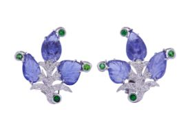 PAIR OF TANZANITE AND DIAMOND EARRINGS