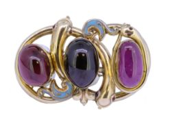 IMPORTANT ANTIQUE VICTORIAN GARNET AND ENAMEL TRIPLE SNAKE BROOCH
