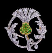 TSAVORITE GARNET AND DIAMOND THISTLE BROOCH