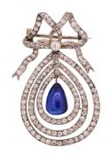 IMPORTANT BURMA NO HEAT BLUE SAPPHIRE AND DIAMOND BROOCH