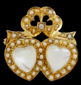 ANTIQUE VICTORIAN MOONSTONE AND PEARL DOUBLE HEART BROOCH