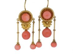 ANTIQUE VICTORIAN PAIR OF NEO-CLASSICAL CORAL DROP EARRINGS
