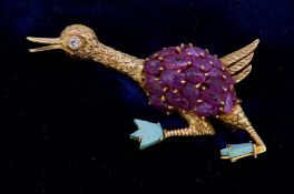 VACHERON & CONSTANTIN, RUBY AND TURQUOISE OSTRICH BROOCH