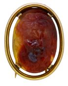 IMPORTANT ANTIQUE HARDSTONE CAMEO BROOCH