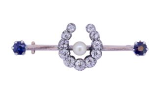 PEARL, SAPPHIRE AND DIAMOND HORSESHOE BROOCH