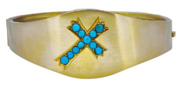 BANGLE WITH TURQUOISE SET CROSS