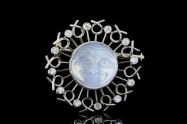 MOONSTONE AND DIAMOND MAN IN THE MOON BROOCH