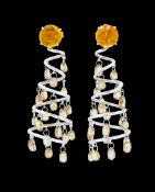 PAIR OF CITRINE AND DIAMOND SPIRAL EARRINGS