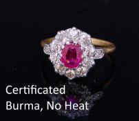 ANTIQUE PINK SAPPHIRE AND DIAMOND CLUSTER RING