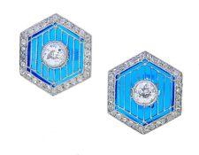 HEXAGONAL PAIR OF DIAMOND AND PLIQUE A JOUR EARRINGS