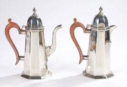 Elizabeth II silver coffee pot and hot water jug