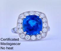 IMPORTANT BLUE SAPPHIRE AND DIAMOND RING