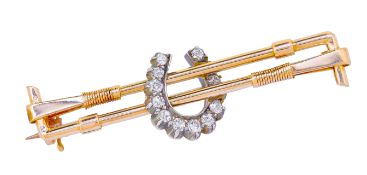 ANTIQUE DIAMOND HORSE SHOE AND RIDING CROP BROOCH