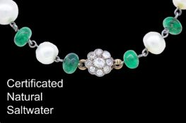 NATURAL PEARL AND EMERALD BRACELET