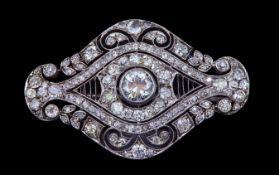 A BELLE EPOQUE DIAMOND OPENWORK BROOCH