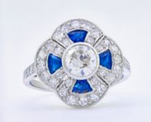 SAPPHIRE AND DIAMOND CLUSTER DRESS RING