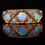 ANTIQUE OPAL AND DIAMOND DRESS RING
