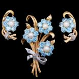 BLUE ZIRCON DIAMOND AND PEARL FLORAL BROOCH AND PAIR OF EARRINGS